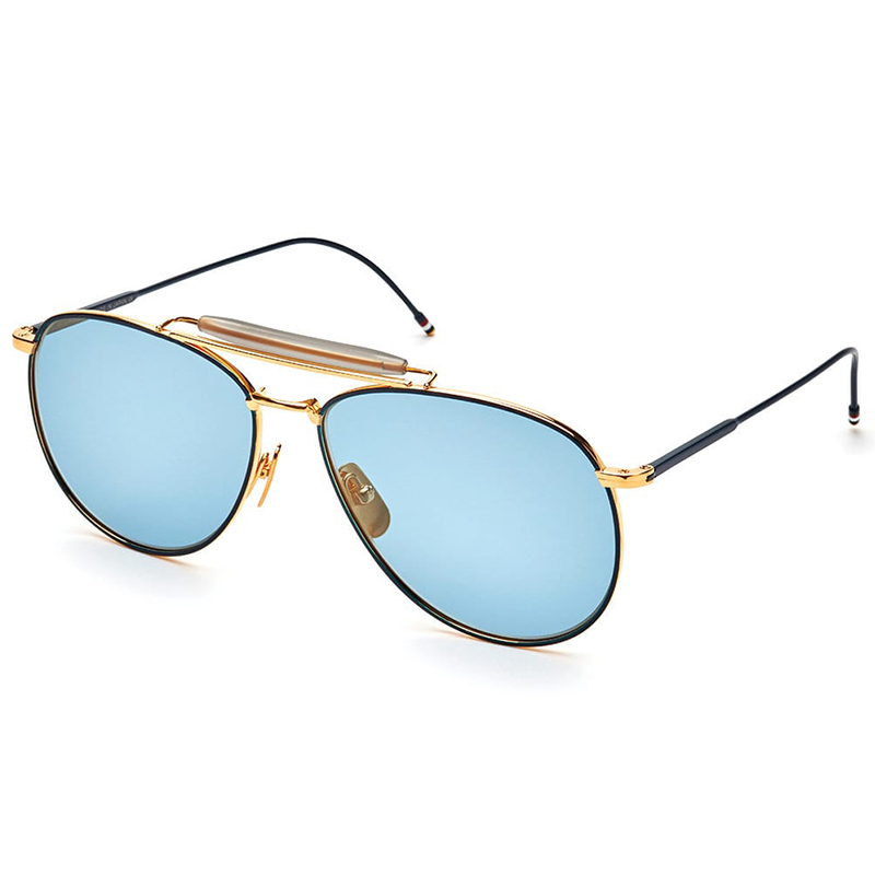 89729668e70d Matte Navy   Yellow Gold Aviator Sunglasses